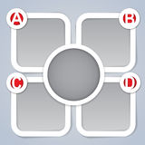 ABCD Progress Template Frames. Four square frames marked with the progressive ABCD and a circular frame ideal for instruction manuals and presentations Stock Images