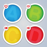 ABCD progress template frames. Four trendy labels marked with the progress system ABCD in vivid colors Royalty Free Stock Images