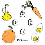 ABCD vitamins from foods. Vector pic A B C D vitamins from foods Royalty Free Stock Photography