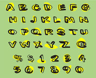 Abcd1. Letters, black and yellow on green Royalty Free Stock Photos