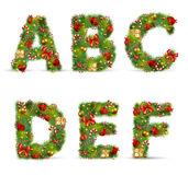 ABCDEF, christmas tree font. With green fir and baublest vector illustration