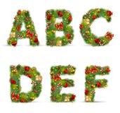 ABCDEF, fonte tipografica dell'albero di Natale Fotografia Stock