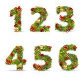 ABCDEF, fonte tipografica dell'albero di Natale illustrazione vettoriale