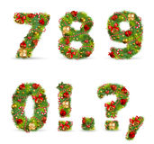 ABCDEF, fonte tipografica dell'albero di Natale Fotografia Stock Libera da Diritti