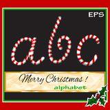ABCDEF, vector christmas sugar-candy font on a Royalty Free Stock Photo