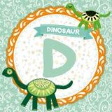 abcdjur D är dinosaurien Barns engelska alfabet vektor Arkivbilder