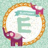 abcdjur E är elefanten Barns engelska alfabet vektor Royaltyfri Foto