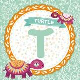 abcdjur T är sköldpaddan Barns engelska alfabet vektor Arkivbilder