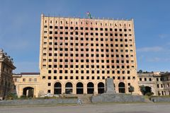 Abchazië, de oorlog-verwoeste overheidsbouw na wa Stock Afbeelding