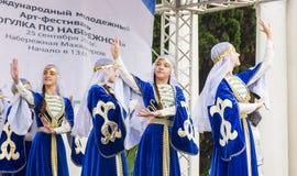 ABCHAZIEN SUKHUMI - SEPTEMBER 25, 2016: Festivalen för konst för droppInternetional ungdom rymdes i Sukhumi, huvudstad av Abchazi Arkivbild
