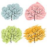 4 дерева сезона, иллюстрация деревьев abctract Стоковая Фотография RF