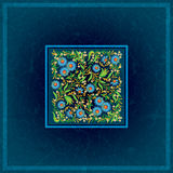 Abctract floral ornament on grunge background. Abctract floral ornament on grunge blue background Royalty Free Stock Photography
