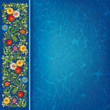 Abctract grunge background with floral ornament. Abctract grunge blue background with vintage floral ornament stock illustration