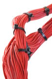 Abctract link in global network computer system. Red cables with black cable ties stock photos