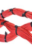 Abctract link in global network system. Red cables isolated on white background stock photos