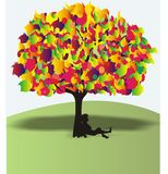 Abctract wonderful colour tree stock illustration