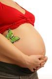 Abdômen de uma mulher gravida fotografia de stock