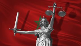 Abdeckung über Gesetz Statue des Gottes von Gerechtigkeit Themis mit Flagge von Marokko-Hintergrund Ursprüngliche Statue von Gere stock abbildung
