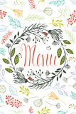 Abdeckung für Menü mit Blumenmusterelementen Stockfotos