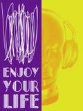 Abdeckung für Musikkonzept Ein abstrakter Vektor für hörende Musik mit Kopfhörern Künstlerisches Entwurfsdesign Vektor Stockbild