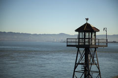 Abdeckung-Kontrollturm auf Alcatraz Insel Stockfoto