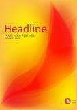 Abdeckung mit abstraktem Feuer verlässt auf gelbem Hintergrund A4 Vektor Stockbilder