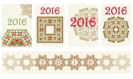 Abdeckung mit 2016 Kalendern mit ethnischem rundem Verzierungsmuster in den roten und grünen Farben Stockfoto