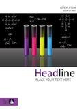 Abdeckung Schablone Design mit den Reagenzgläsern eingestellt Vektor Stockbilder