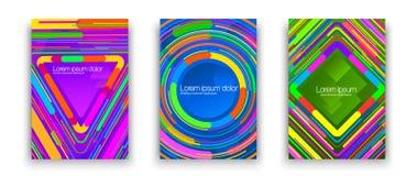 Abdeckungen mit heller geometrischer Verzierung Satz bunte Fahnen oder Abdeckungen mit der hellen geometrischen Verzierung an lok Lizenzfreies Stockbild