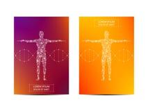 Abdeckungs- oder Plakatdesign mit menschlichem Körper-, wissenschaftlichem und technologischemkonzept, Vektorillustration lizenzfreie abbildung