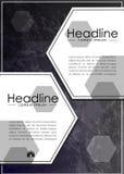 Abdeckungsbuchdesign auf Metallhintergrund Vektor Stockfotos