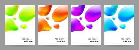 Abdeckungsdesign eingestellt mit flüssigen Formen Lizenzfreie Stockfotos