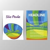 Abdeckungsdesign mit farbigen Elementen und Linien Stockbilder