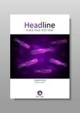 Abdeckungsdesign mit purpurroten Bakterien mit Lumineszenz Wissenschaftsvektor Stockfotografie