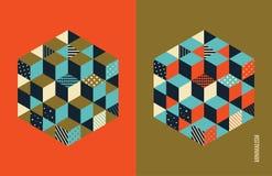 Abdeckungsdesignschablone Abstrakter geometrischer Hintergrund mit Würfeln Auch im corel abgehobenen Betrag Stockbilder