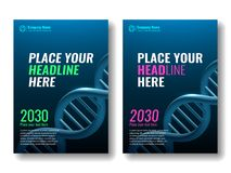 Abdeckungsdesignschablone DNA-Spirale Stockfoto