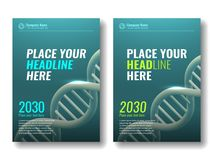 Abdeckungsdesignschablone DNA-Spirale 3 Stockfotos