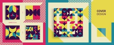 Abdeckungsdesignschablone für die Werbung Abstraktes buntes geometrisches Design Lizenzfreies Stockfoto