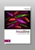 Abdeckungsdesignschablone mit Bakterienmischung Vektor Stockfotos