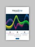 Abdeckungsdesignschablone mit glühenden Wellen Lizenzfreies Stockfoto