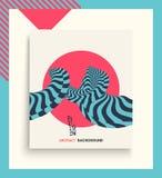 Abdeckungsdesignschablone Muster mit optischer Illusion Abstrakter geometrischer Hintergrund 3d Asiatische Vektorillustration stock abbildung