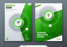 Abdeckungssatz Grüne Schablone für Broschüre, Fahne, plackard, Plakat, Bericht, Katalog, Zeitschrift, Flieger usw. Moderner Kreis stock abbildung