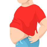 Abdomen fat, overweight man with a big belly. Vector illustration Stock Photo