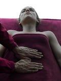 Abdomen massage therapy silhouette Stock Photo