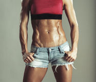 Abdomen muscled girls in shorts Royalty Free Stock Photography