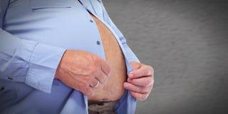 Abdomen obeso del hombre Imagen de archivo