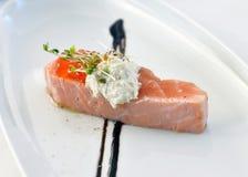 Abdomen salmon. With red caviar Stock Photo