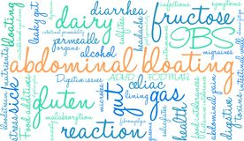 Abdominal Bloating Word Cloud. On a white background Stock Image