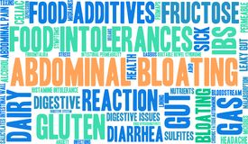 Abdominal Bloating Word Cloud. On a white background Stock Photography