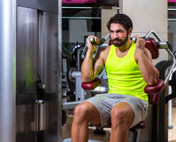 Abdominal crunch machine workout man Stock Photo